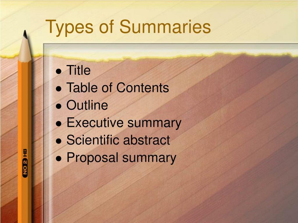 Types of Summaries