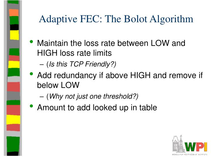 Adaptive FEC: The Bolot Algorithm