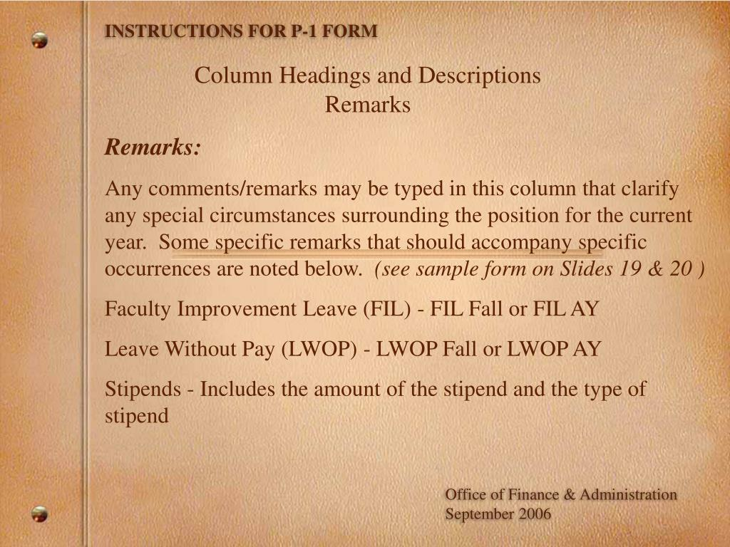 INSTRUCTIONS FOR P-1 FORM