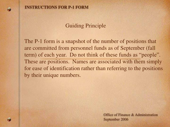 Instructions for p 1 form
