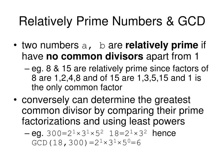 what are relatively prime numbers