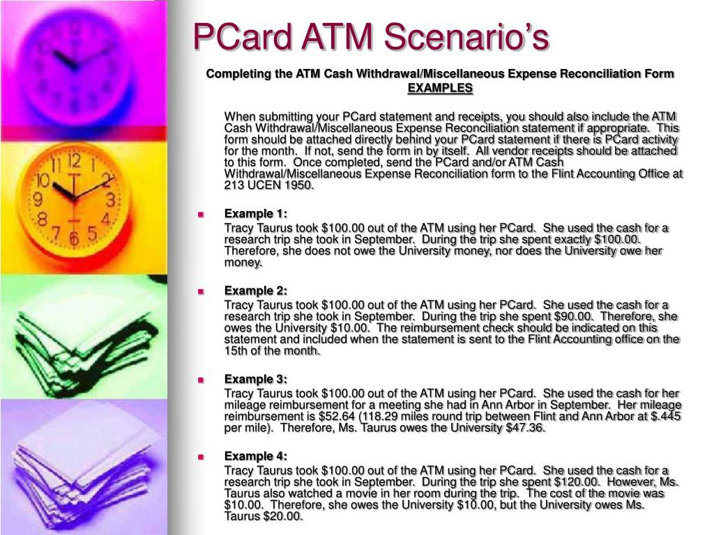 PCard ATM Scenario's