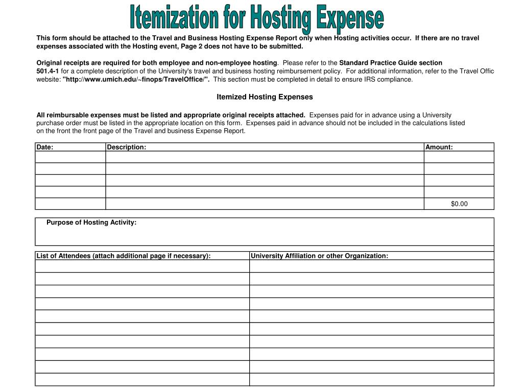 Itemization for Hosting Expense