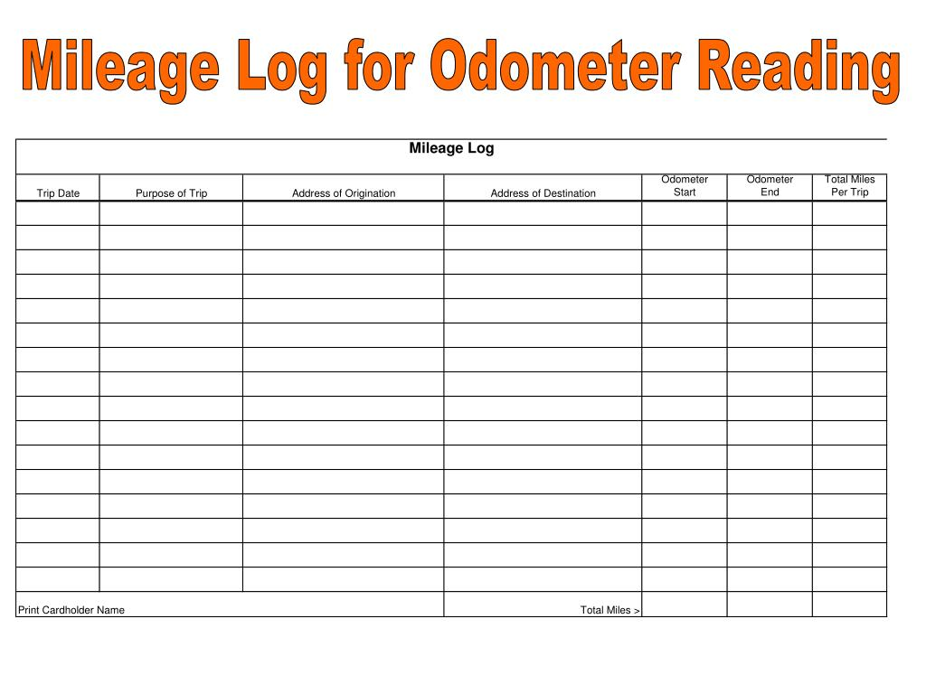 Mileage Log for Odometer Reading