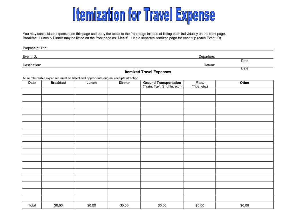 Itemization for Travel Expense