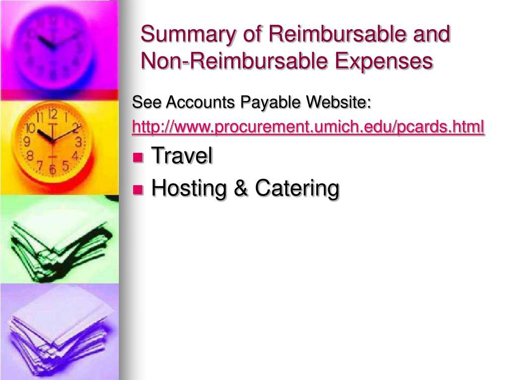 Summary of Reimbursable and Non-Reimbursable Expenses