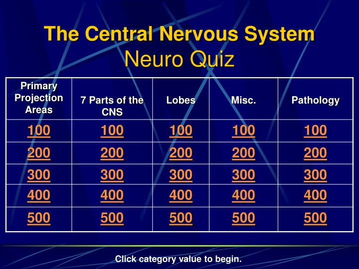 The central nervous system neuro quiz