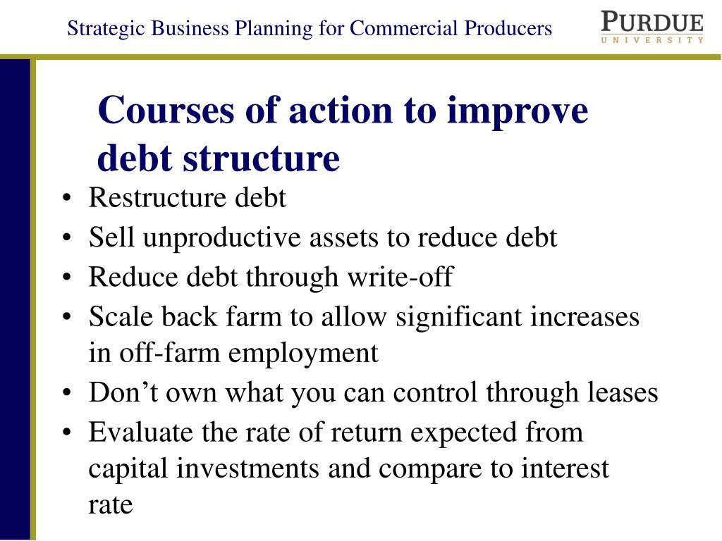 Courses of action to improve debt structure