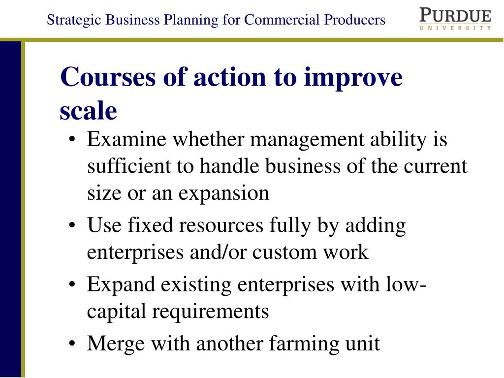 Courses of action to improve scale