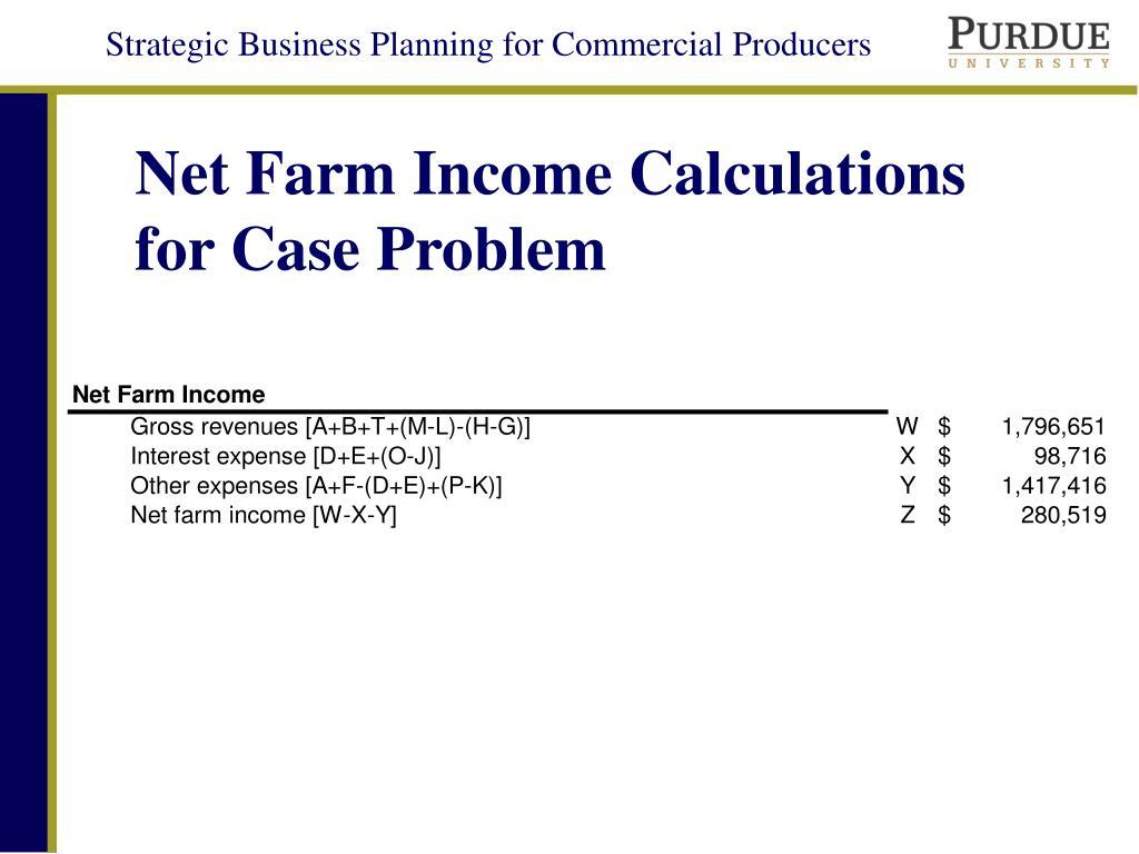 Net Farm Income Calculations for Case Problem