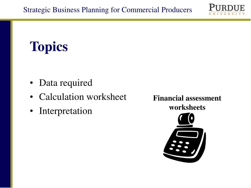 Financial assessment worksheets
