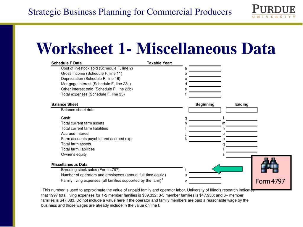 Worksheet 1- Miscellaneous Data