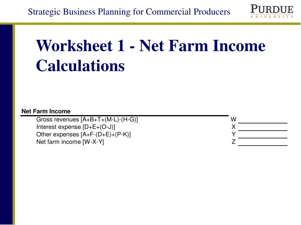 Worksheet 1 - Net Farm Income Calculations