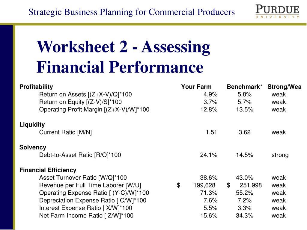 Worksheet 2 - Assessing Financial Performance