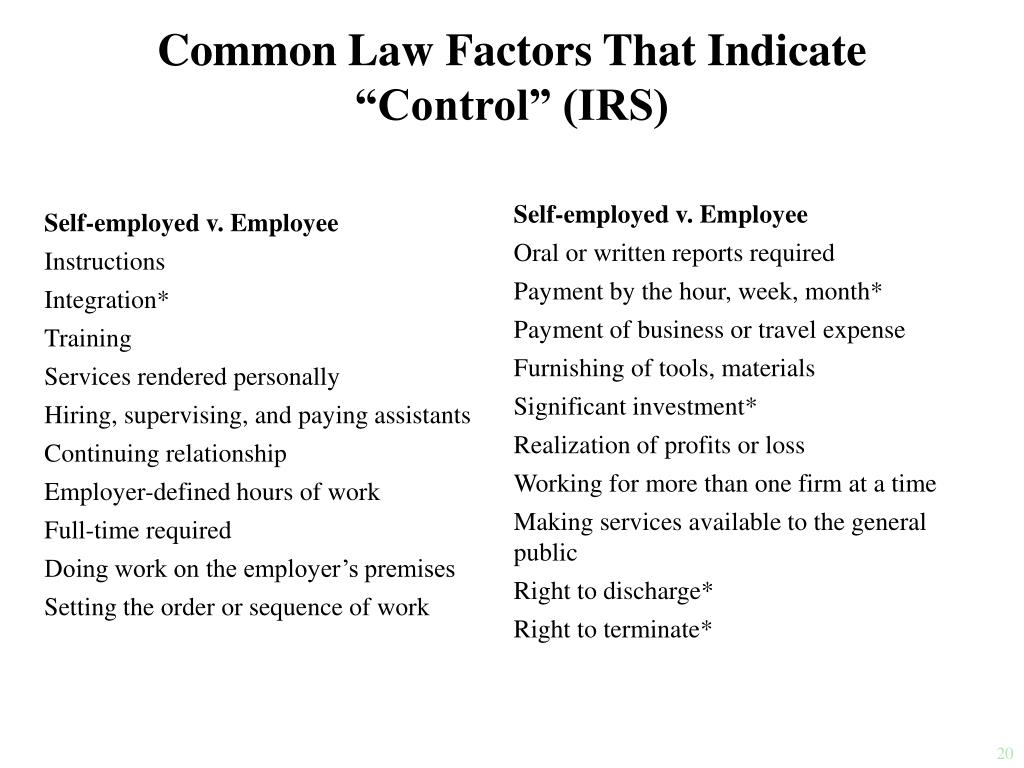 Self-employed v. Employee