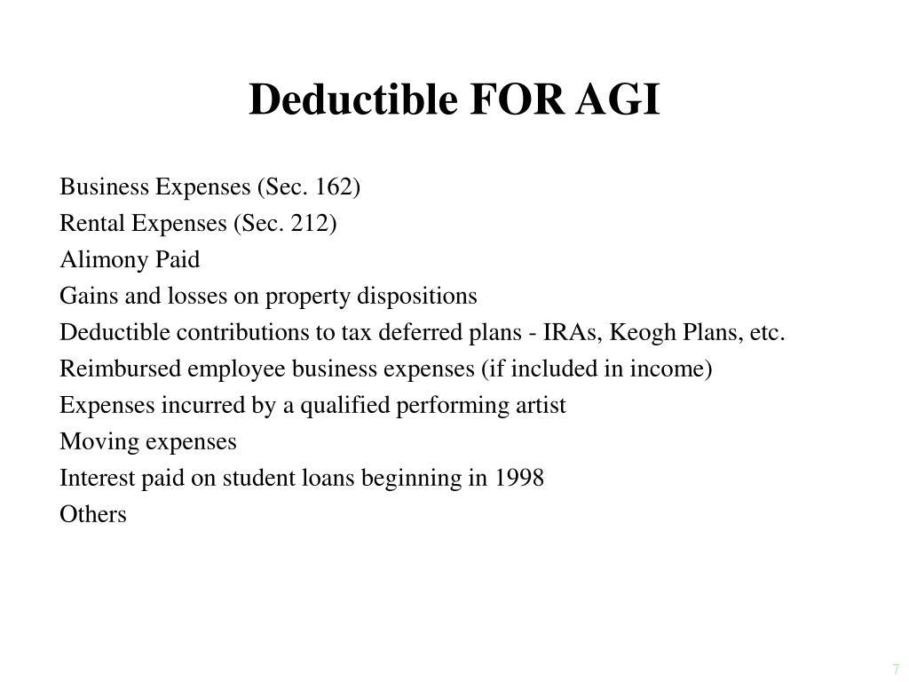 Deductible FOR AGI