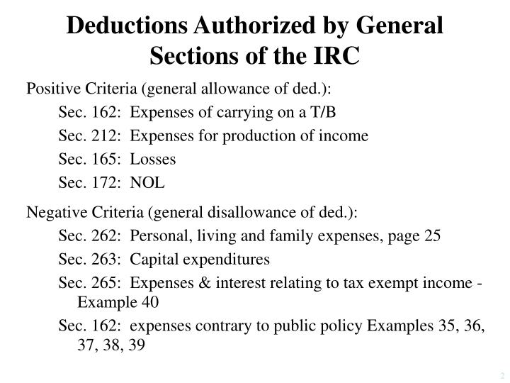 Deductions authorized by general sections of the irc