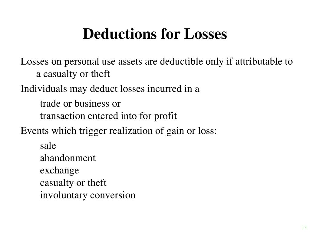 Deductions for Losses