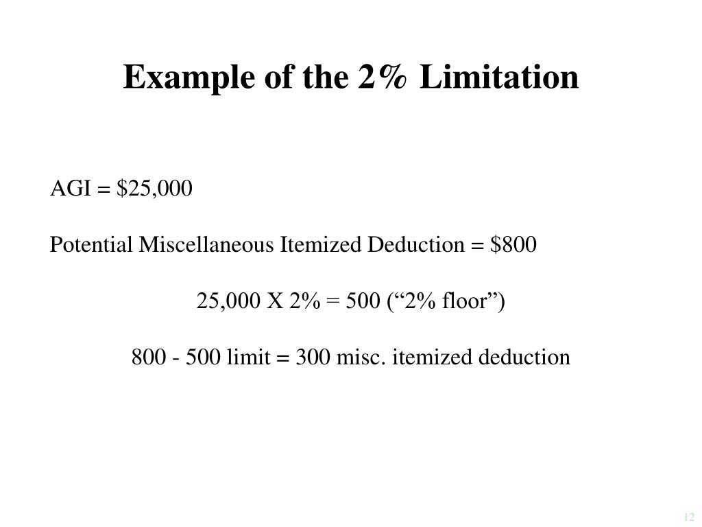 Example of the 2% Limitation