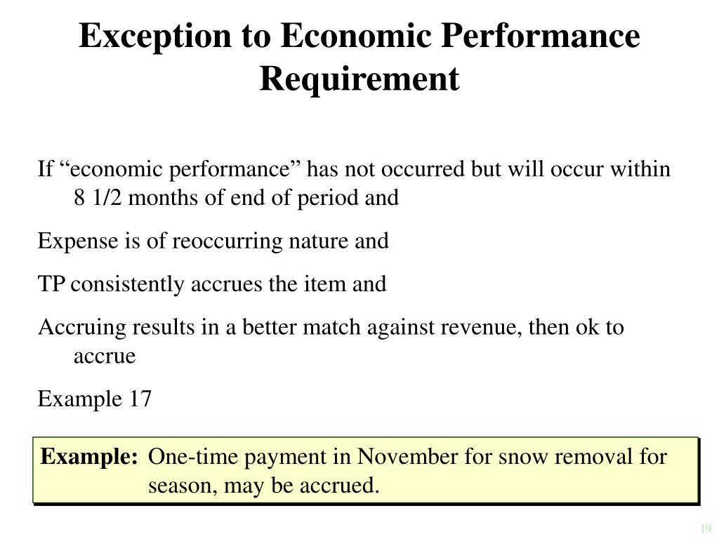 Exception to Economic Performance Requirement