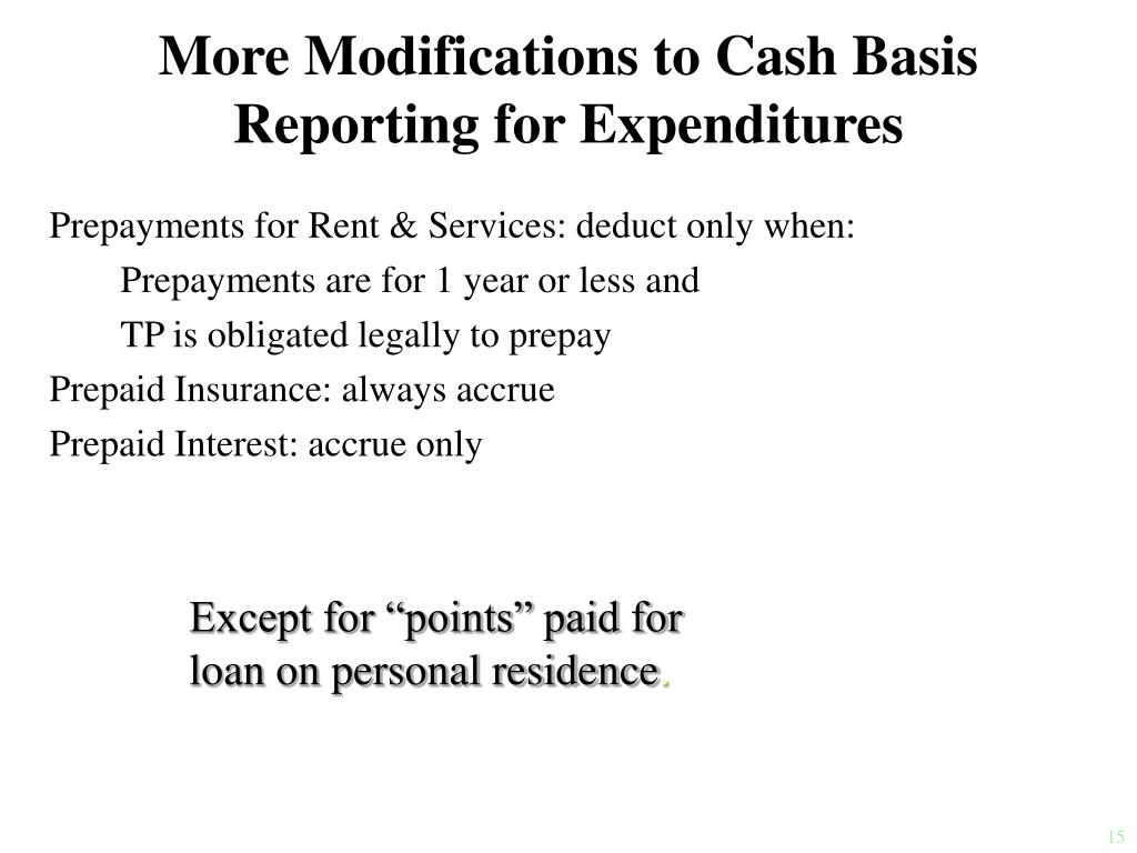 More Modifications to Cash Basis Reporting for Expenditures