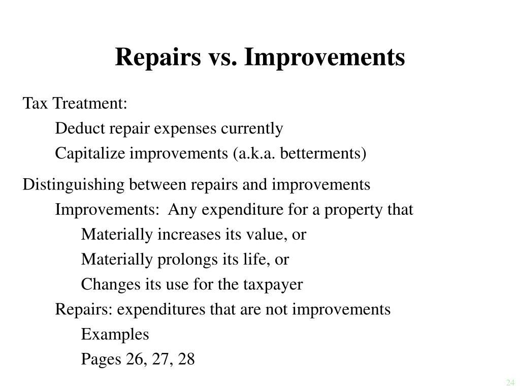 Repairs vs. Improvements