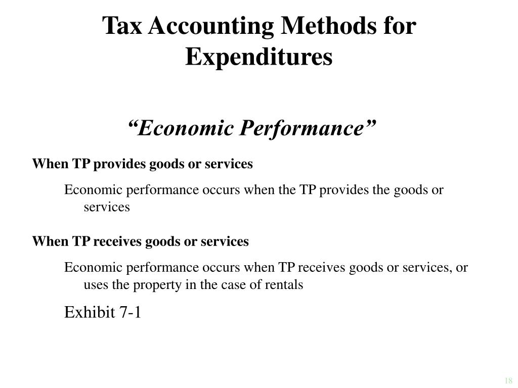 Tax Accounting Methods for Expenditures