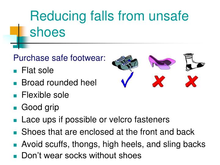 Reducing falls from unsafe shoes