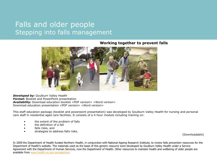 Falls and older people