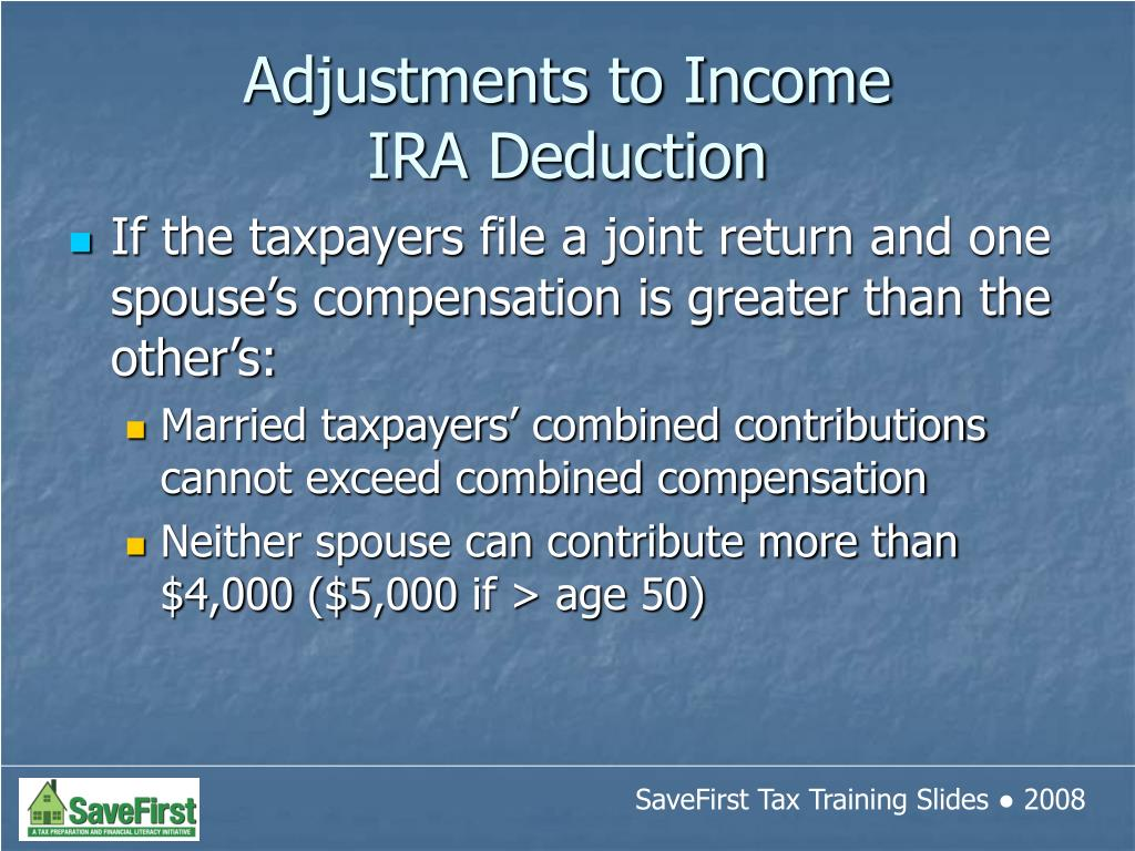 If the taxpayers file a joint return and one spouse's compensation is greater than the other's: