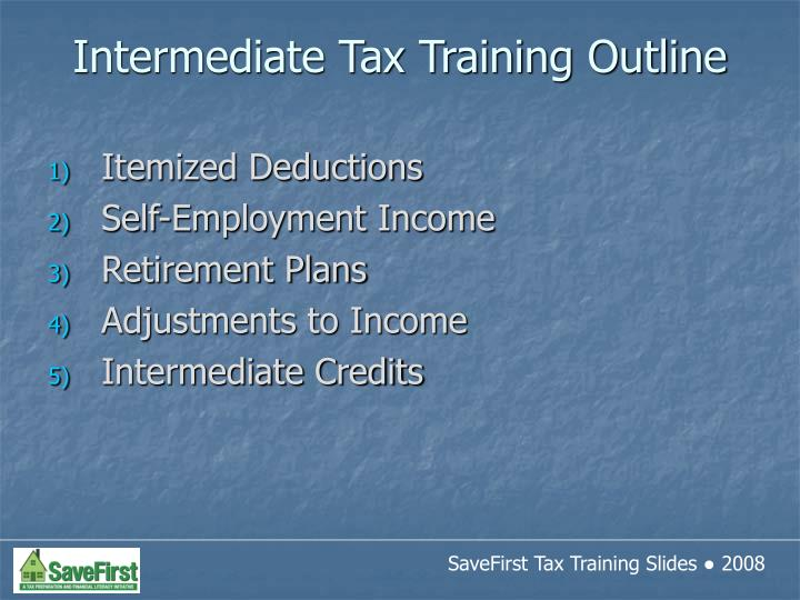 Intermediate tax training outline