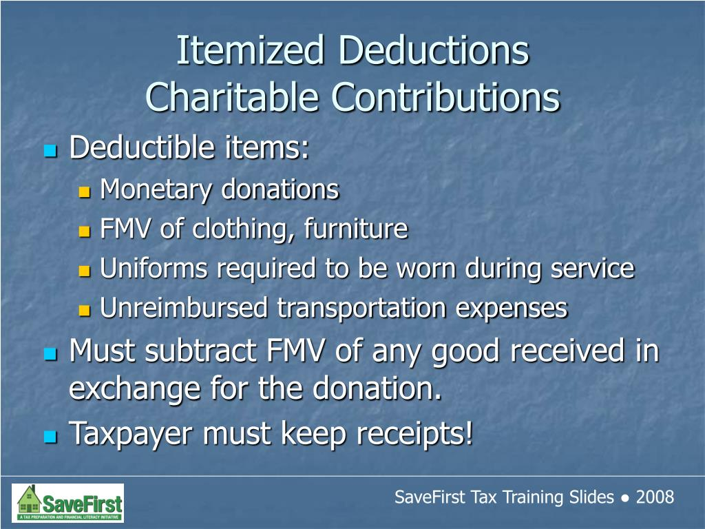 Deductible items: