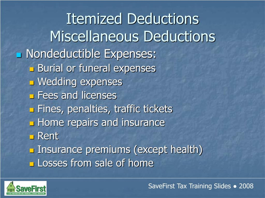 Nondeductible Expenses: