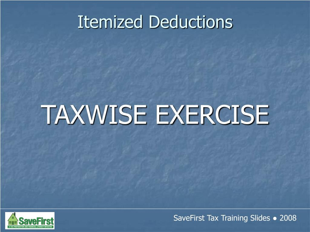 TAXWISE EXERCISE