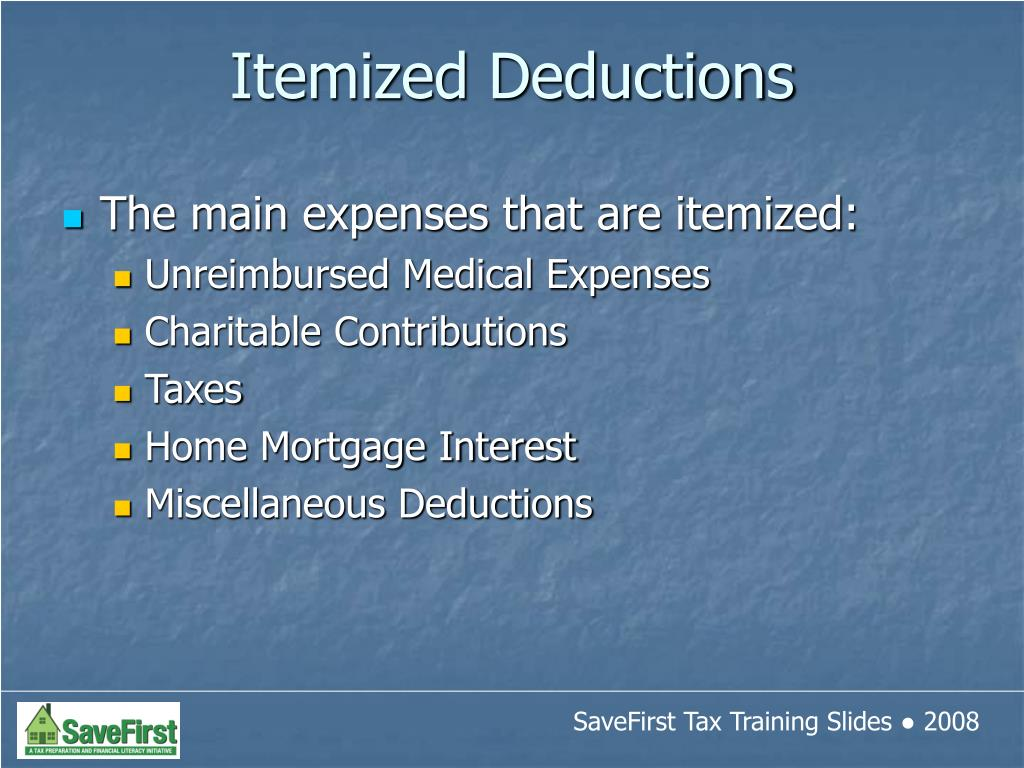 The main expenses that are itemized: