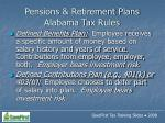 pensions retirement plans alabama tax rules