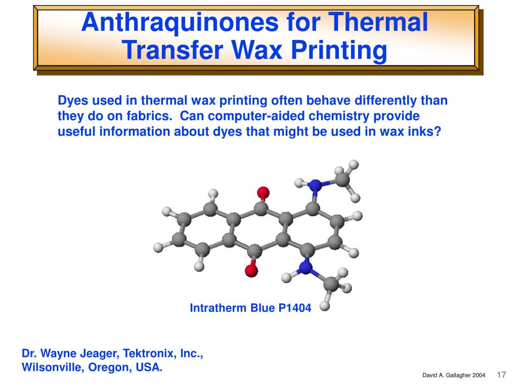 Anthraquinones for Thermal Transfer Wax Printing