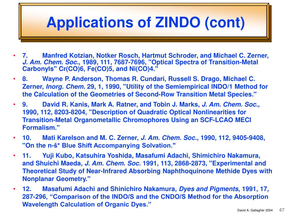 Applications of ZINDO (cont)