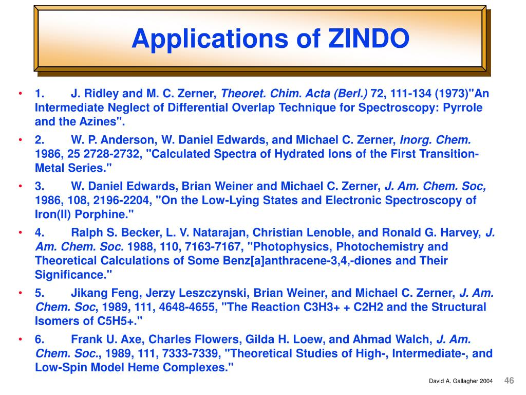 Applications of ZINDO