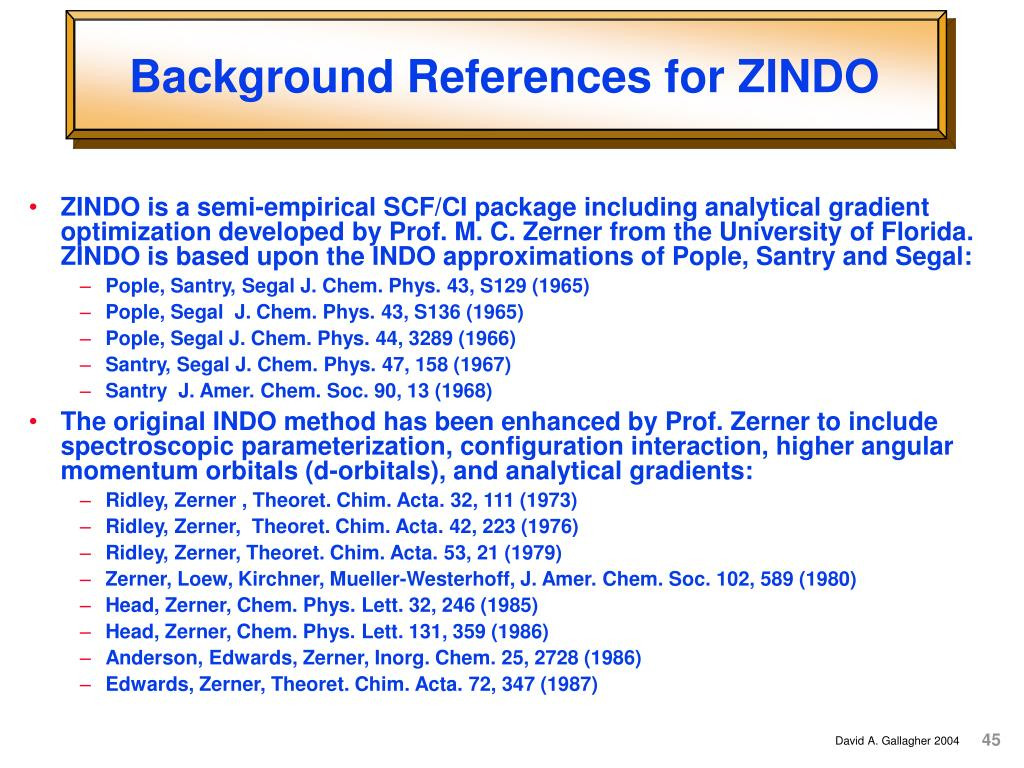 Background References for ZINDO