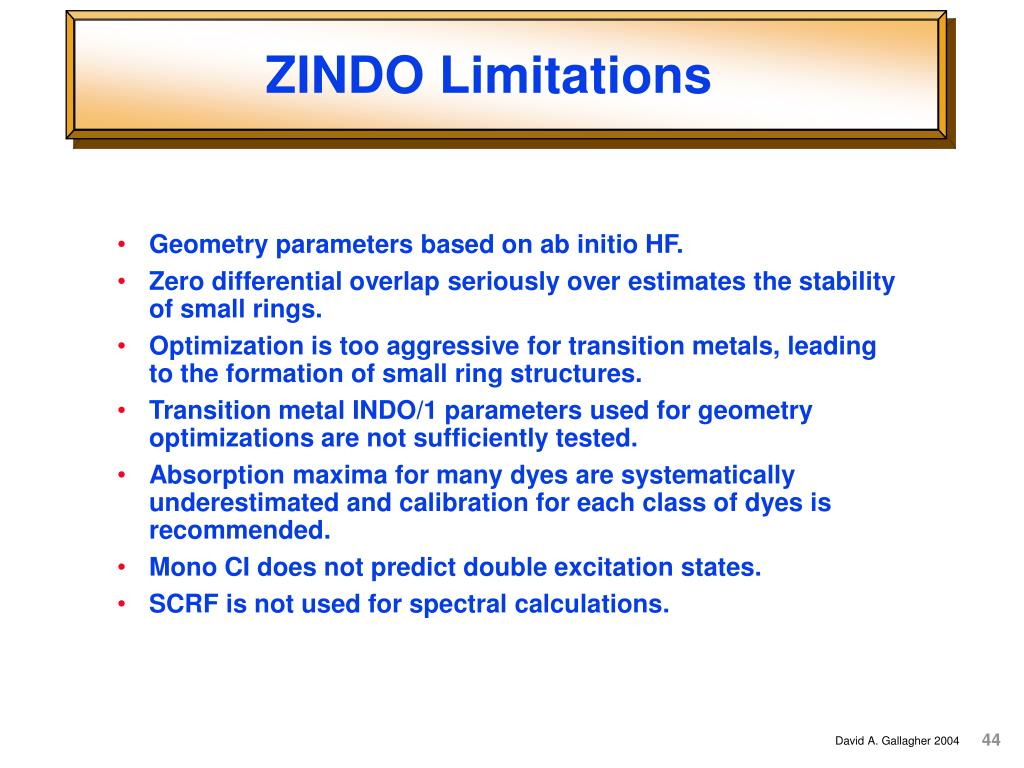 ZINDO Limitations