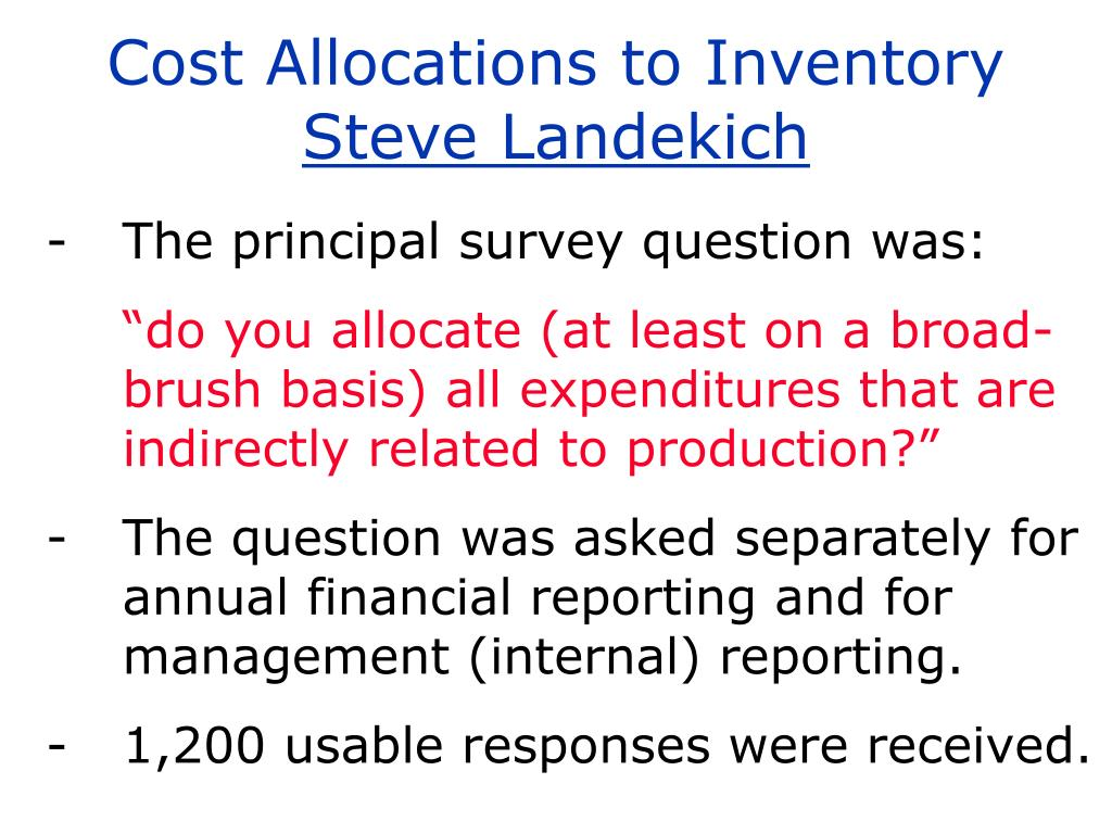 Cost Allocations to Inventory