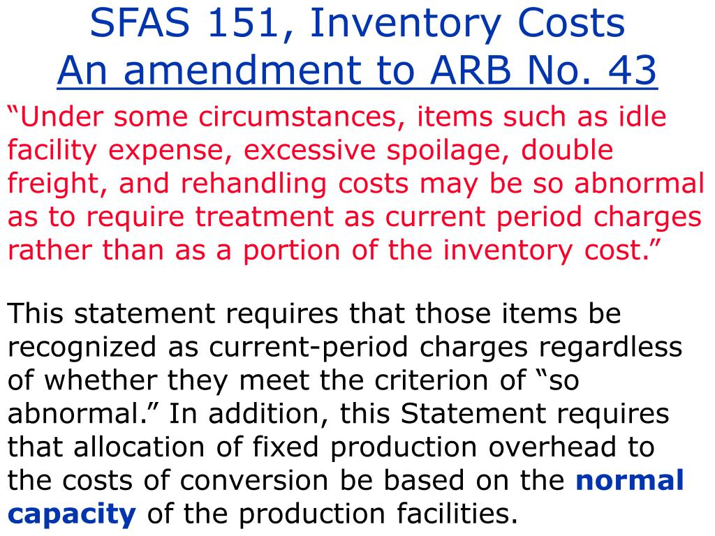 SFAS 151, Inventory Costs