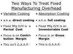 two ways to treat fixed manufacturing overhead