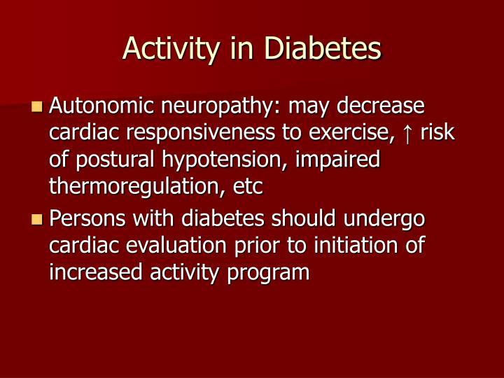 Activity in Diabetes