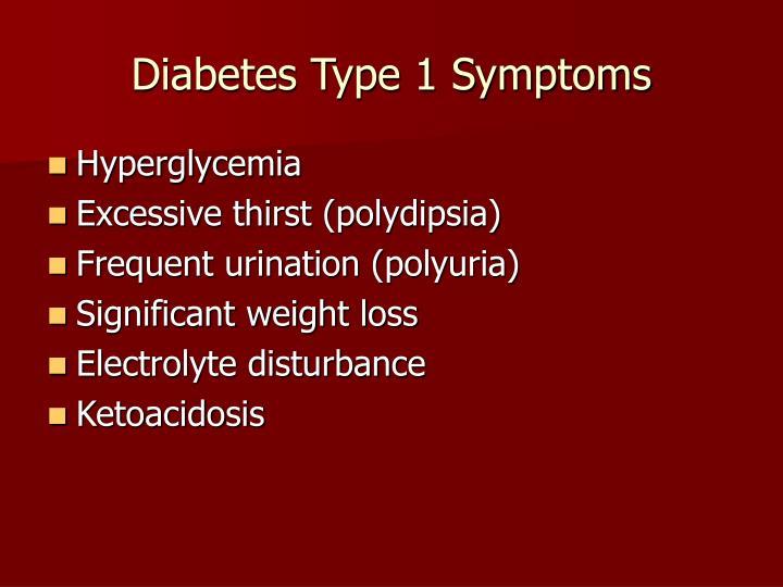 Diabetes Type 1 Symptoms