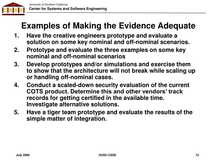 Examples of Making the Evidence Adequate