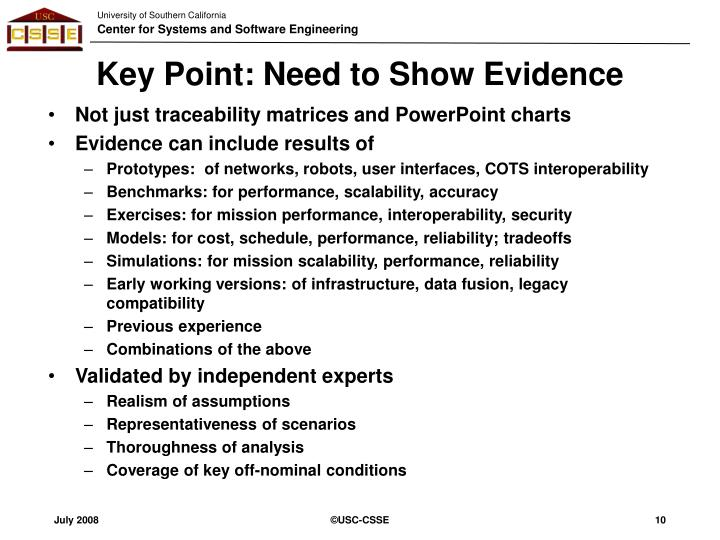 Key Point: Need to Show Evidence