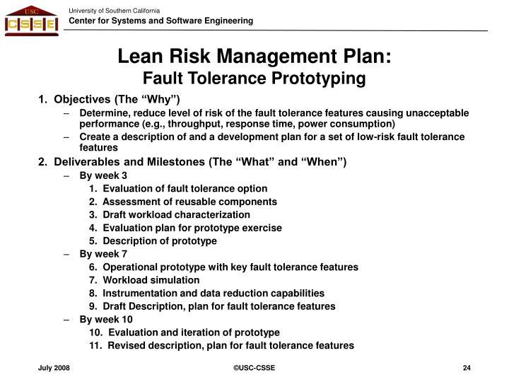 Lean Risk Management Plan: