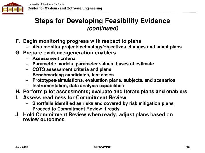 Steps for Developing Feasibility Evidence